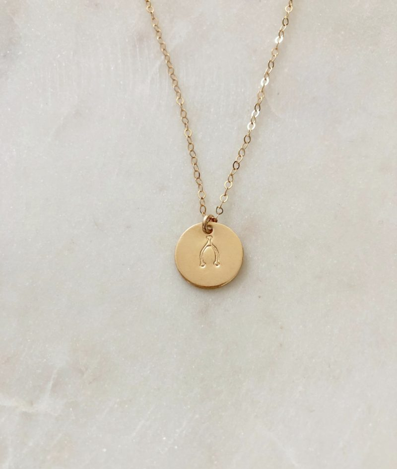 hand stamped wishbone necklace - 14K gold filled